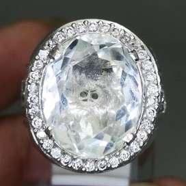 Cincin Batu Natural Kecubung Es Bening Kristal Ring Perak