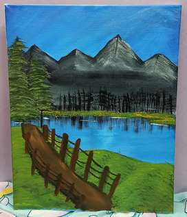 Canvas landscape acrylic painting(19.5×15.5)