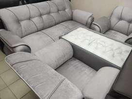3+1+1 Seater Fabric Sofa Pack (Grey)