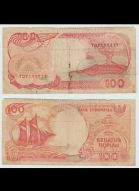 Uang kuno 100 angka kembar cantik 111111
