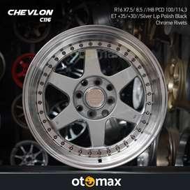Velg Mobil Cevlon (C116) Ring 16 Silver Lip Polish Black Chrome Rivert