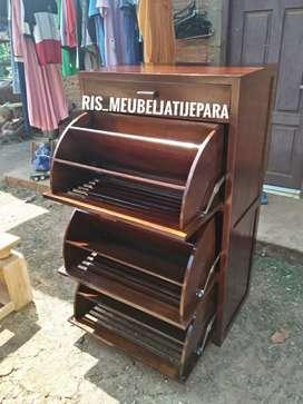 Almari rak sepatu minimalis kayu jati ready MBP 984