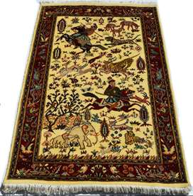 4 x 6 ft Fine Quality White Color Hunting Hand-knotted Area Rug Carpet