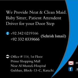 Female Maid required at PECHS Kashmir road & Nazimabad