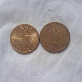 uang kuno koin 100 rupiah karapan sapi th 1993 - 1998