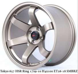 ready juga velg raccing tipe TOKYO 657 HSR R17X9/10 H4x100 ET26/18 SMB