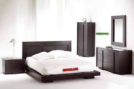 Excellent Quality Bed with side table dressing