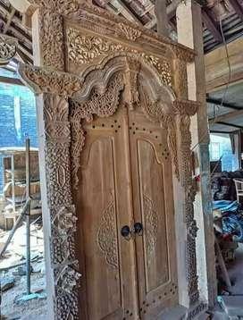 Pintu gebyok kayu jati ready