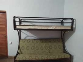 Double story iron bed with mattress