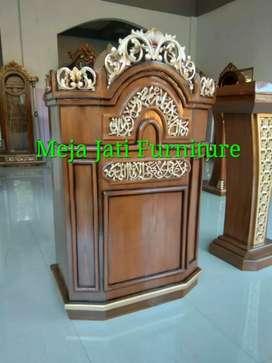 Mimbar masjid R67 wood kayu jati lois