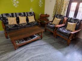 Pure teak wood sofa with centre table and almirah full size