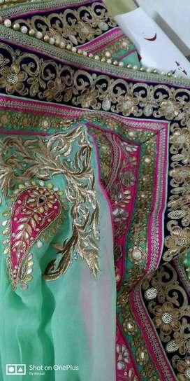 Silk hand work bridal lehnga  blue ,Rani pink & mint