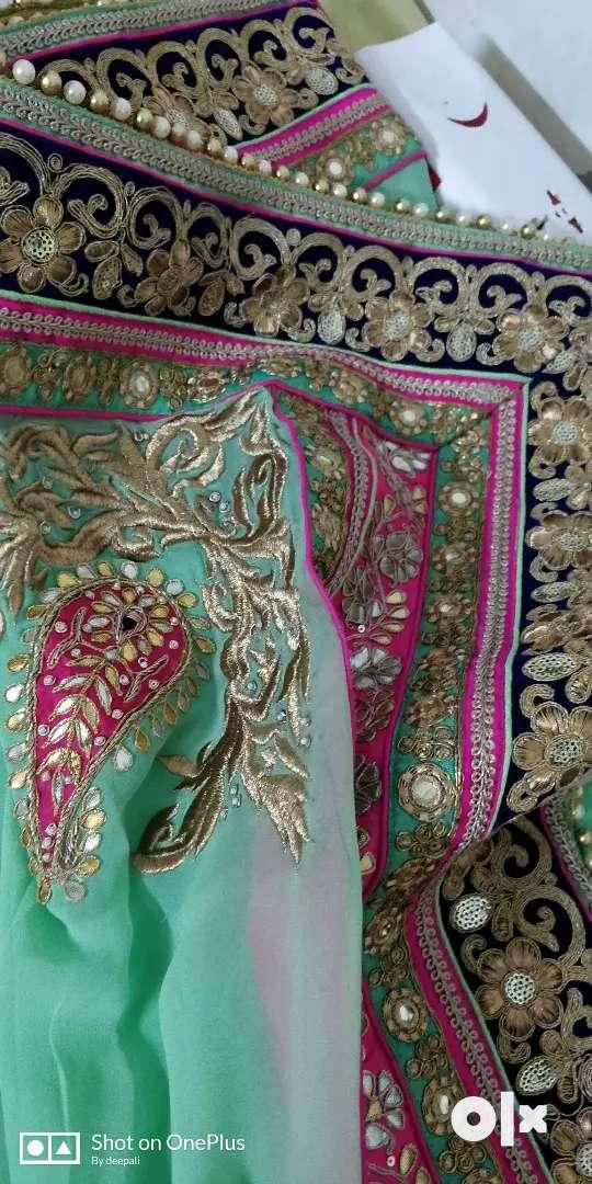 Silk hand work bridal lehnga  blue ,Rani pink & mint 0