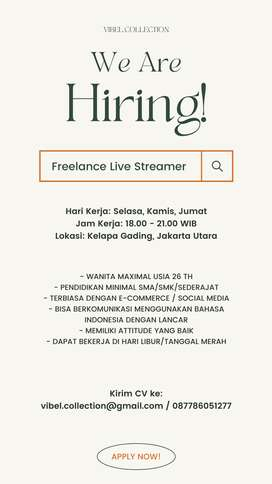Dicari Freelance Live Streamer