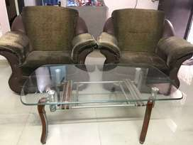 Sofa (3+2) with glass central table