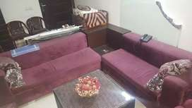 L SHAPE SOFA , wine colour , with centre table