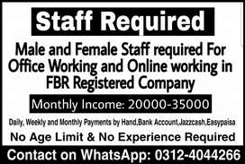 Staff Required Male,Female,Student(Full Time,Part time,Home Based job)