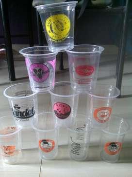 Sablon cup plastik dengan logo untuk Aneka minuman murah di Lampung