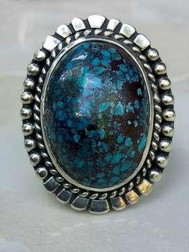 Pirus Persia Iran Royal blue urat merah lawasan ring perak tebal
