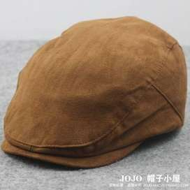 Male Hat Big Head Man Spring Summer and Autumn Newsboy  Cap Linen Bere