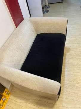 Black and cream double sofa