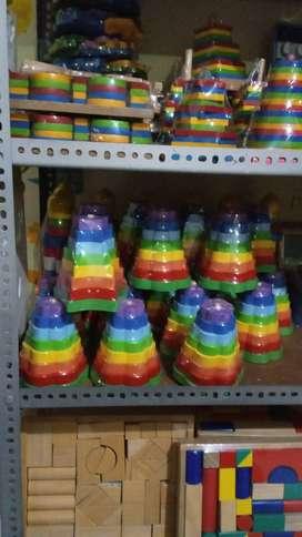 Menara Bintang Bunga Pelangi Warna Mainan Kayu Edukasi
