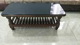 Wood Center Table with Glass Top