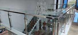 Pembuatan stainless kaca railing tangga dan balkon