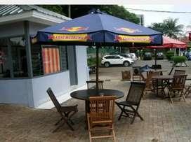 Meja payung kantin, vila, cafe, resto, pantai, dan kolam