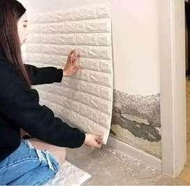 Wallpaper bata putih foam 3D