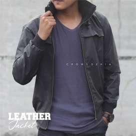 Jaket Kulit Black Series Long Neck Korean Style - SK57