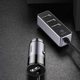 Car Charger Baseus Enjoy Series 4 - 3 Port Adapters Original Mantapppp