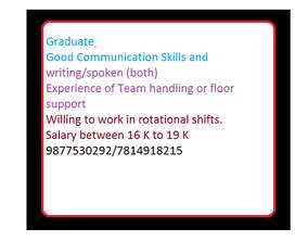 Team Coordinator - 2 Nos. (NEED TO CLOSE THIS WITHIN THIS WEEK) Gradua