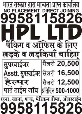 HPL LTD JOBS OPENING PART TIME AND FULL TIME