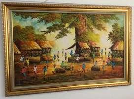 tema lukisan pasar tradisional besar dengan bingkai