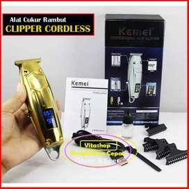 Alat Cukur Rambut Kemei KM-127 GOLD Clipper Mesin Potong LED Display