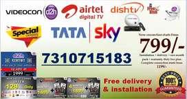 Tata sky, Videocon D2H, Dishtv, Airtel,Sun TV all DTH at best price