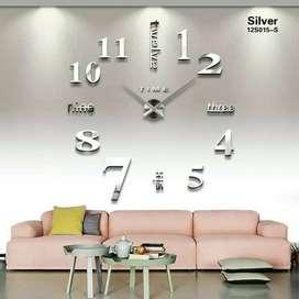 Jam dinding angka besar raksaksa 3D silver