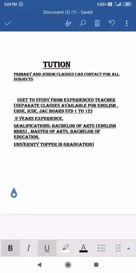 Tution Teacher(Primary and Junior Classes can contact for all subjects