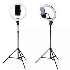 Lampu Halo Ring Light Curve LED with Smartphone Holder + Tripod 2M