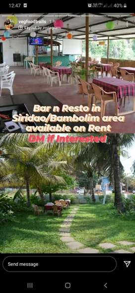 Bar n restaurant for rent  in sirdao/ bambolim area
