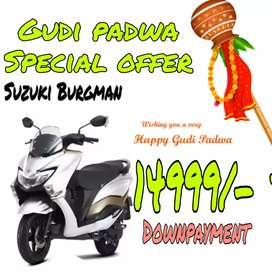 Gudi padwa Special offer, Suzuki Burgman on Lowest Down-payment