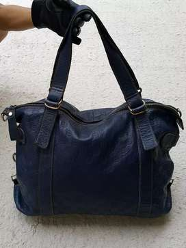 Tas import eks fashion navy kulit asli tebal besar shoulder bag
