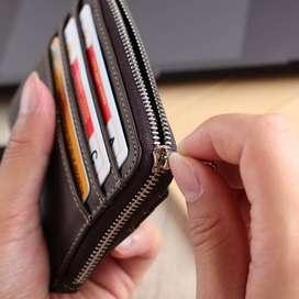 Dompet Kartu Nama ATM Kulit ASLI koin tipis pendek (BISAREKBER)