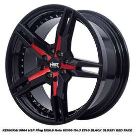 velg racing mobil HSR R15X65 H8X100-114,3 ET40 BG-RED FACE