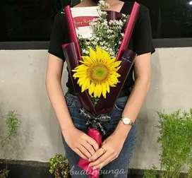 Buket bunga matahari fresh asli mewah