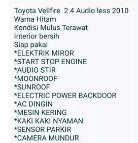 Jual Toyota Vellfire audiless Thn 2010