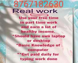 Part time home based data entry workers for genuine work Jobs