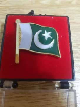 Pakistani Flag badge gold plated