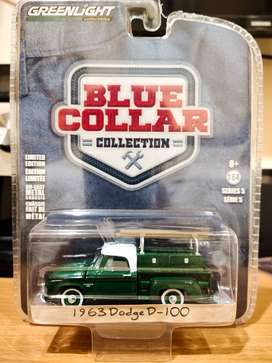 Diecast - Greenlight - Dodge D-100 1963 - Blue collar - Green